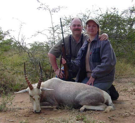 Rhyde and Leesa with a white blesbok taken in South Africa